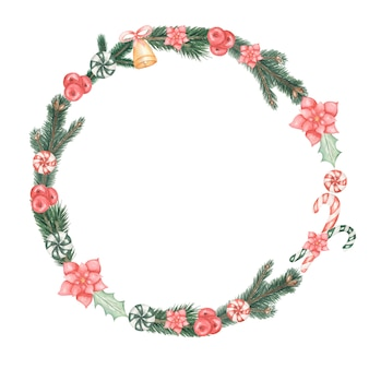 Watercolor hand drawn christmas wreath of poinsettia plant