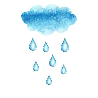 白い表面に分離された水彩画の手描きの雲と雨滴