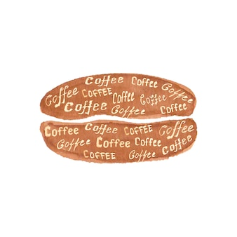 Watercolor hand drawn coffee bean with lettering coffee isolated on white surface