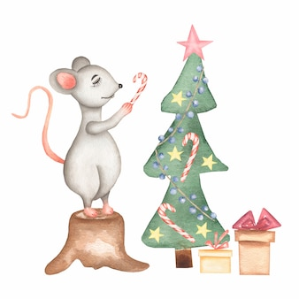 Watercolor hand drawn cute cartoon christmas rat
