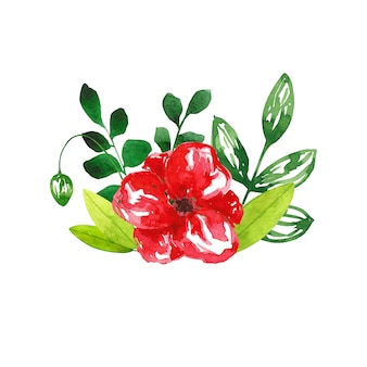 Watercolor hand drawn flower and leaves composition isolated on white background. poppy and foliage design element for cards, invitations, weddings, parties, decoration.