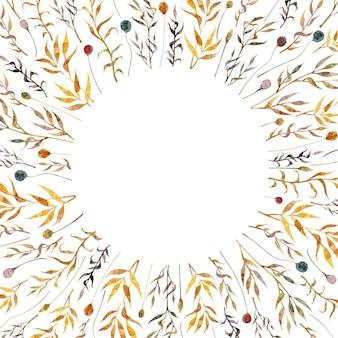 Акварель рисованной кадр с цветочными элементами кадр с сухими травами, изолированные на белом фоне
