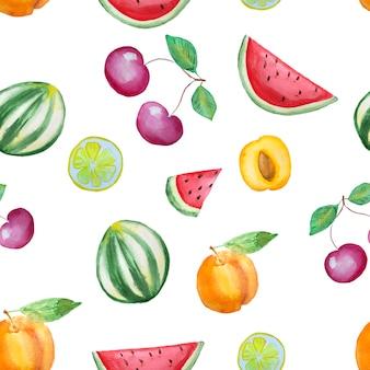 水彩の手描き果物パターン