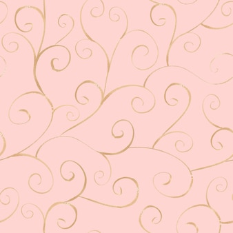 Watercolor hand drawn gold ornamental line seamless pattern on light pink surface