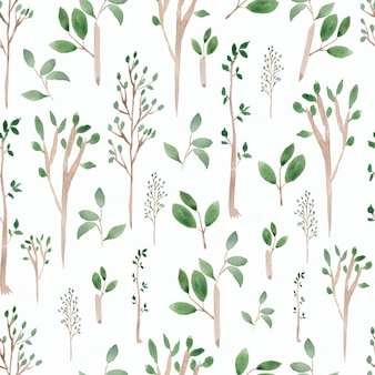 Watercolor hand drawn green tree and branches seamless pattern
