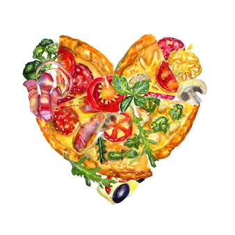Watercolor hand drawn heart shaped composition with pizza and ingredients on white.