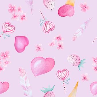 Акварель рисованной картины сердца, цветы и клубника