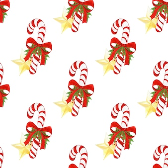 Watercolor hand drawn holiday pattern with christmas candy canes.