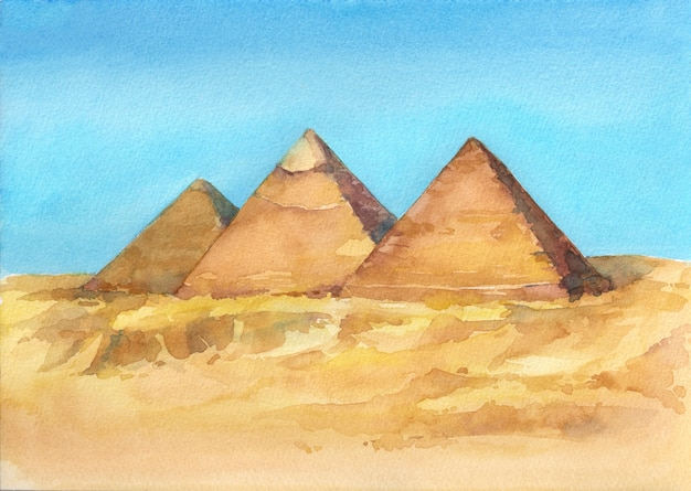 Watercolor hand drawn illustration of egyptian pyramids in giza