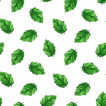 水彩手描きイラスト。緑の新鮮な葉とのシームレスなパターン。