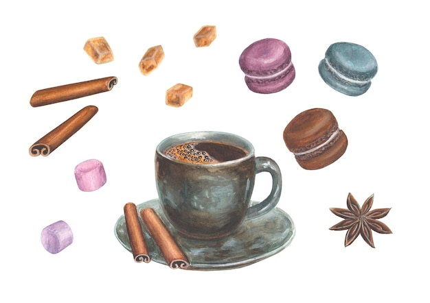 Watercolor hand drawn illustration with coffee design elements - a cup of coffee, cinnamon, anise, macaroons, marshmallow and sugar crystals, isolated on a white surface