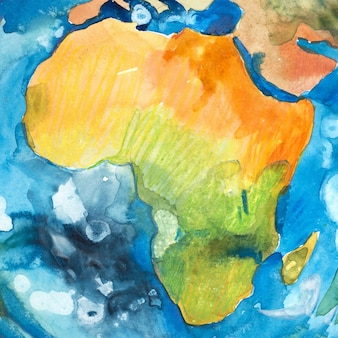 Watercolor hand drawn map of africa. aquarelle illustration.