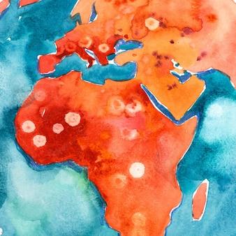 아프리카의 수채화 손으로 그려진 된지도입니다. 수채 화법 그림.