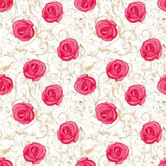 Акварель рисованной восточный бесшовный образец с красными розами на старом фоне гранж. концепции дизайна одежды, тканей, постельного белья и упаковки