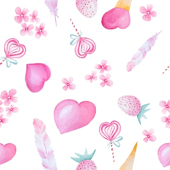 バレンタインの要素を持つ水彩手描きパターン