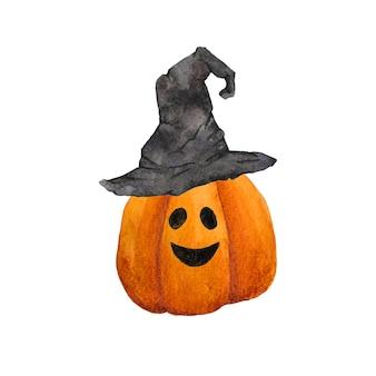 魔女の帽子のクリップアートで水彩の手描きのカボチャ。白い背景で隔離のハロウィンイラスト。ジャック・オー・ランタンのかわいい秋のアート。