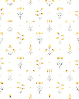Акварель рисованной бесшовные декоративное растение цветок желтые ягоды, изолированные на белом
