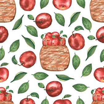 Watercolor hand drawn seamless pattern with  apple flowers