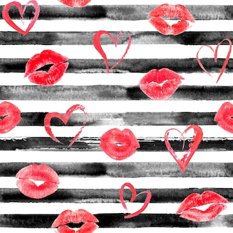 Watercolor hand drawn seamless pattern with black stripes, red hearts and lips kisses. watercolor white and black background.