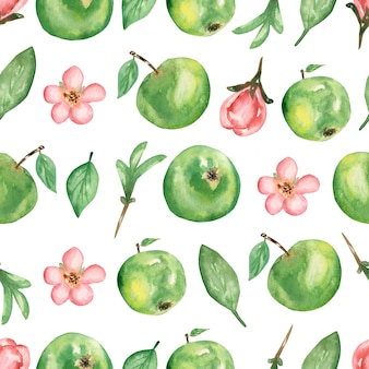 Watercolor hand drawn seamless pattern with branch of apple flowers