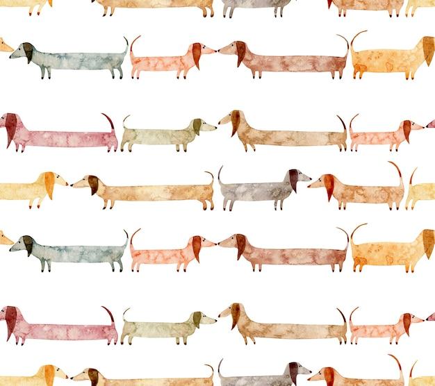 白い背景で隔離の犬と水彩の手描きのシームレスなパターン長いかわいいダックスフント
