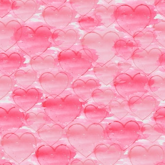 Watercolor hand drawn seamless pattern with hearts on a white surface