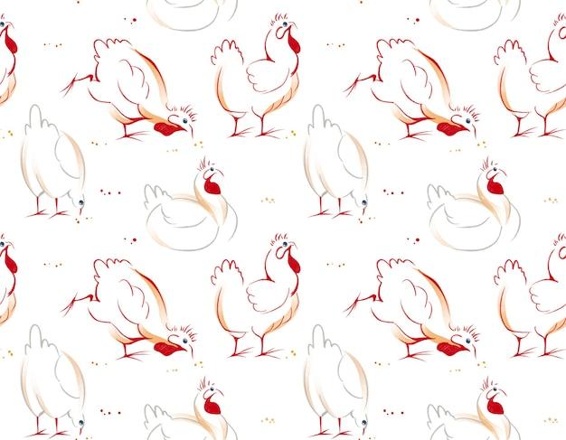 닭 암탉과 수탉의 일러스트와 함께 수채화 손으로 그린 원활한 패턴