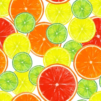 Watercolor hand drawn seamless pattern with lemon, lime, orange and grapefruit slices on white surface