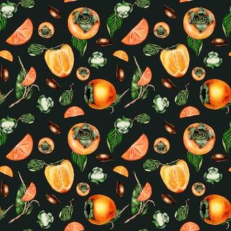 水彩の手描きの柿とのシームレスなパターン
