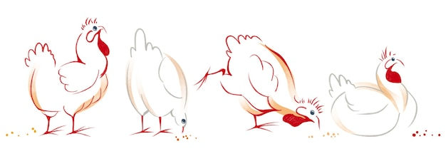 Watercolor hand drawn set with illustration of chicken hen art element isolated on white background