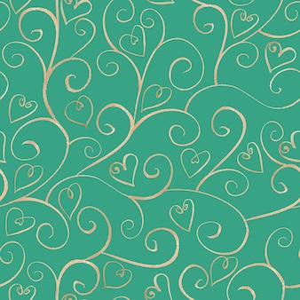 Watercolor hand drawn silver ornamental line seamless pattern with hearts on turquoise surface