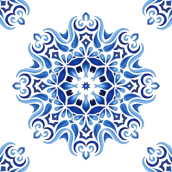 Watercolor hand drawn tile seamless mandala medallion ornamental pattern