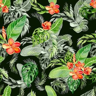 水彩の手描きの熱帯の葉とフラワーブーケのアレンジメントのシームレスなパターン。