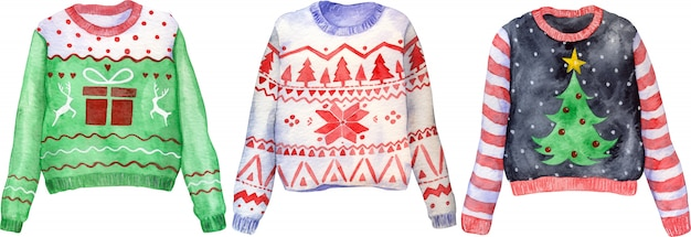 Watercolor hand drawn ugly christmas sweaters. christmas jumper day clothes.