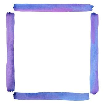 수채화 손으로 그린 보라색 사각형 모양 프레임입니다. 보라색 화려한 테두리, 공백, 복사 공간. 흰색 배경에 고립 된 빈 템플릿입니다.