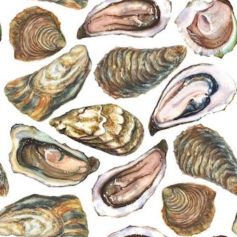 白い背景に水彩の手作り牡蠣シームレスパターン