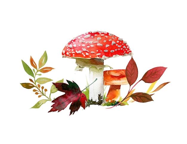 水彩の手描きの秋のキノコと葉のイラスト