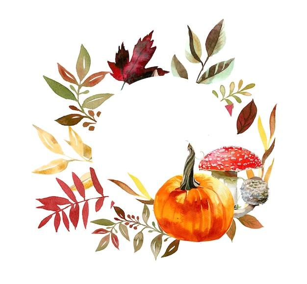Акварель ручная роспись осенней тыквы и листьев венок иллюстрации