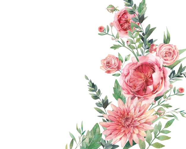 Watercolor  hand painted background with floral elements: berries, daisy, roses flowers. garden style card