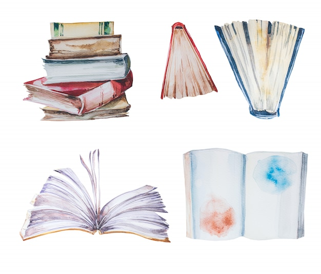 Watercolor hand painted books clipart set.