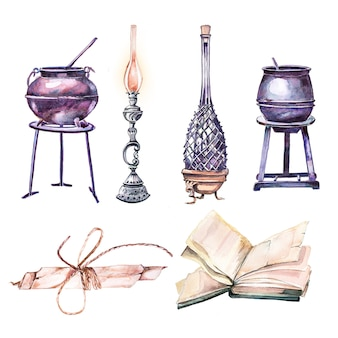 Watercolor hand painted cauldrons, potion bottle, vintage lantern and antique book clipart isolated on white
