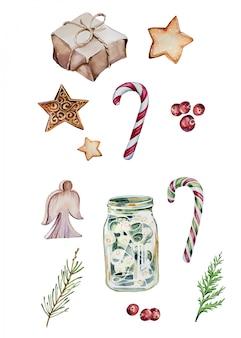 水彩の手描きのクリスマスクリップアートセット、白で隔離