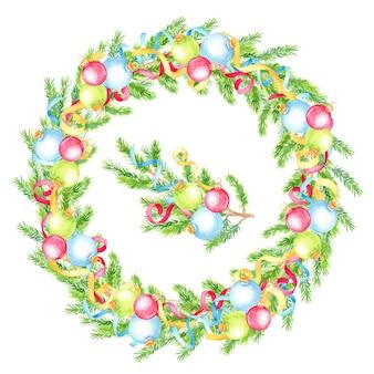 モミの木の枝とクリスマスボールと水彩の手描きのクリスマスリース。