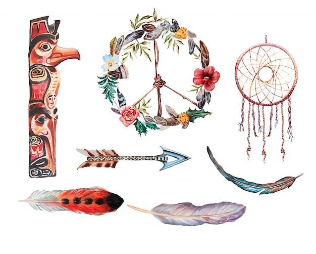 水彩の手描きのドリームキャッチャー、矢印と羽のイラスト。