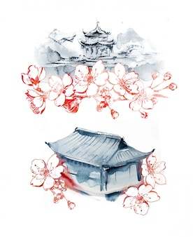 Watercolor hand painted east pagoda and graphic cherry blossom lanscapes