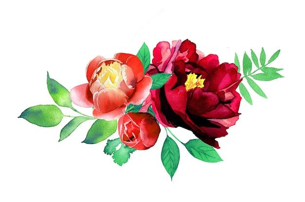 Акварель ручная роспись цветочная композиция баннер иллюстрация, изолированные на белой поверхности Premium Фотографии