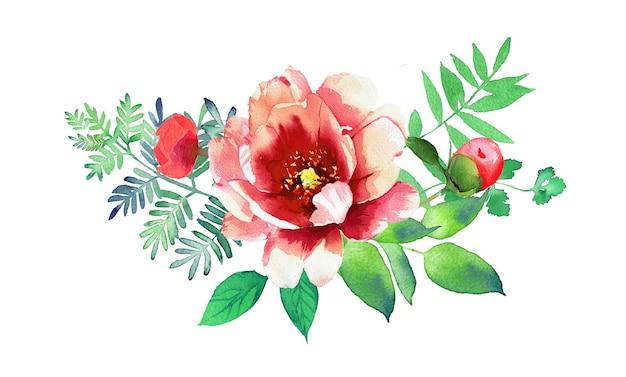 Акварель ручная роспись цветочная композиция баннер иллюстрация, изолированные на белой поверхности