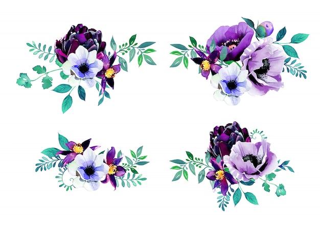 수채화 손으로 꽃 꽃다발을 그렸습니다. 보라색 꽃 디자인.