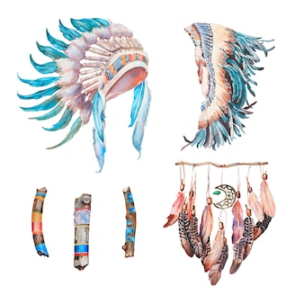 Watercolor hand painted indian headdresses and dreamcatcher illustration.
