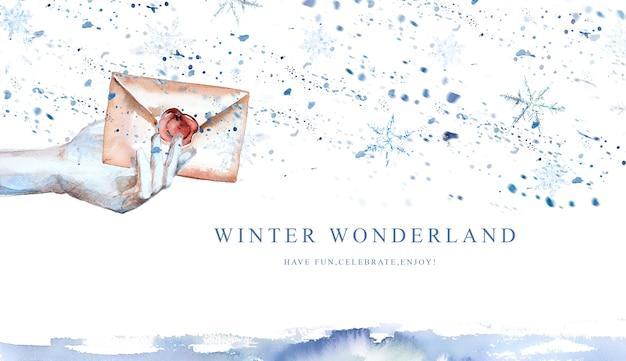 サンタのバナー、冬のデザインに水彩手描きの手紙。